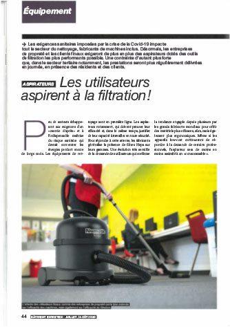 Article de presse Bâtiment Entretien 2020 - Dossier filtration