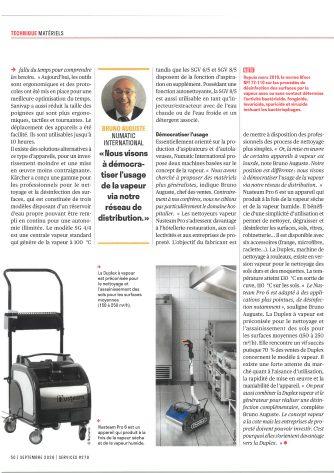 article de presse services septembre 2020 bruno auguste le nettoyage a la vapeur
