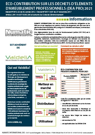 Eco-participation VALDELIA DEA PRO 2021 Numatic